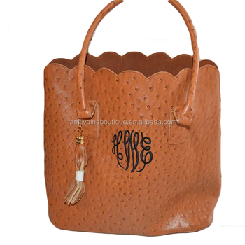 Wholesale Personalized Monogram Tassel Brown Scallop Faux Ostrich Leather Purse