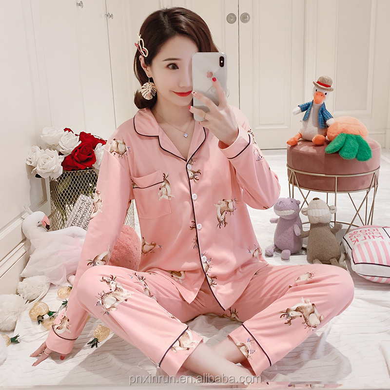 Autumn women's pajamas sweet cute lapel long-sleeved cardigan milk cotton large size nightdress Long sleeve pajamas