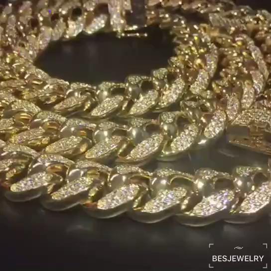 O Envio gratuito de Hip Hop homem Cuba 18mm três-dimensional grande corrente de ouro micro-zircão colar de corrente de água