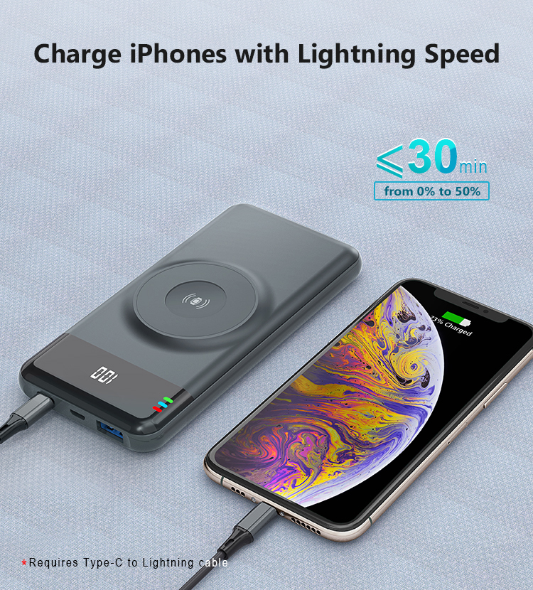 PD 18W Wireless Apple Watch Charging Power Bank  Portable Charger for Apple iPhone11