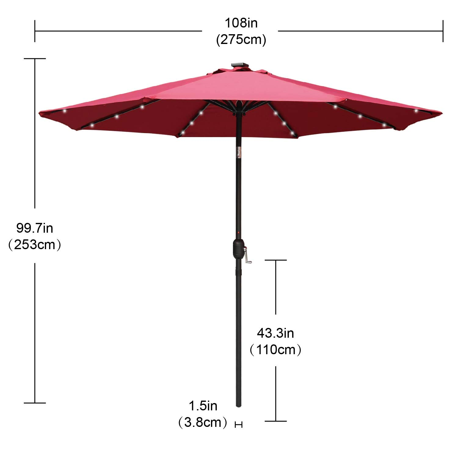ABCCANOPY 2020 NEW 9FT Outdoor LED Solar Umbrella for Garden Yard Swimming Pool Muti-Color Option