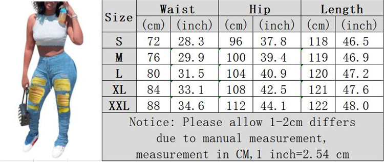 0072106 Newest design drawstring elastic mid waist hole draped denim pants Women Female Bottoms Ladies Trousers Jeans Pants