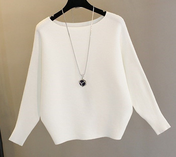 Ice Silk Fabric Knit Bat Shirt Korean New Fashion Women Casual Bottoming Knitted Top