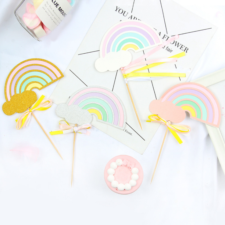 Rainbow <strong>Cake</strong> Topper Flags Paper Craft for <strong>Wedding</strong> Party Event Baking Decoration <strong>Accessories</strong>