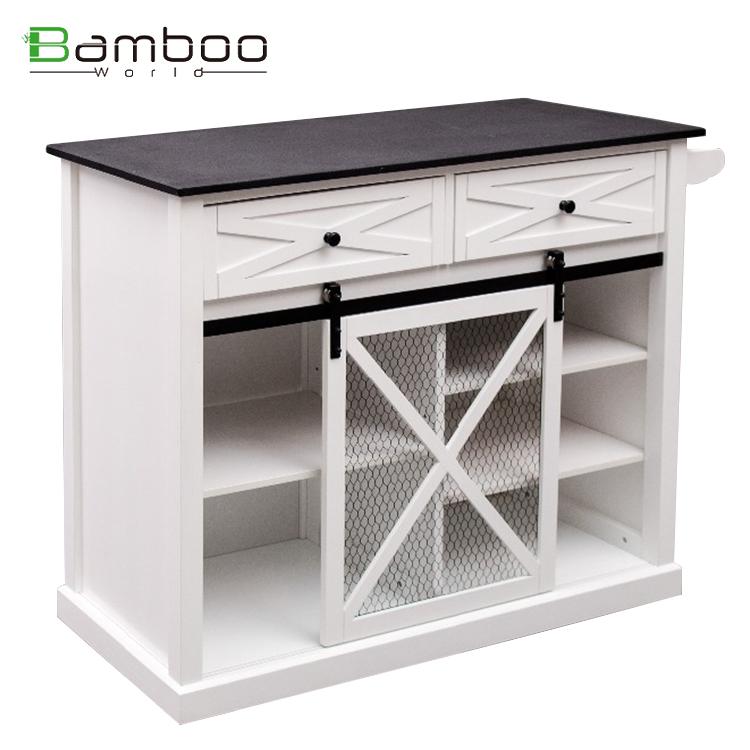 Carrito moderno de madera con diseño elegante para cocina con ruedas para restaurante de cocina
