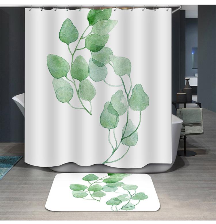 Màu xanh lá cây Thực Vật Nhiệt Đới Rèm Tắm Phòng Tắm Không Thấm Nước Polyester Lá In Ấn Rèm Cửa