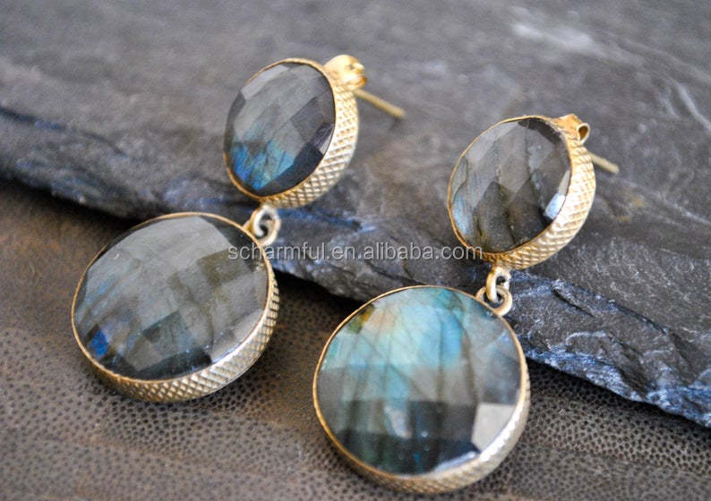 SE019928 Boho labradorite Stone Pendant Earrings