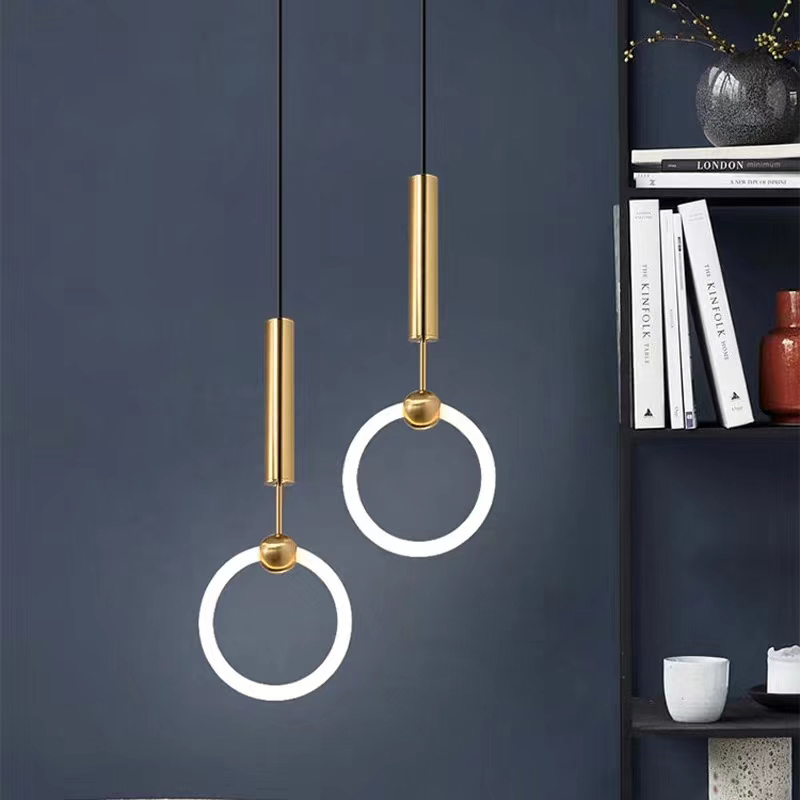 nordic lighting iron ring lamp creative pendant dining room brass modern led line chandelier for livingroom