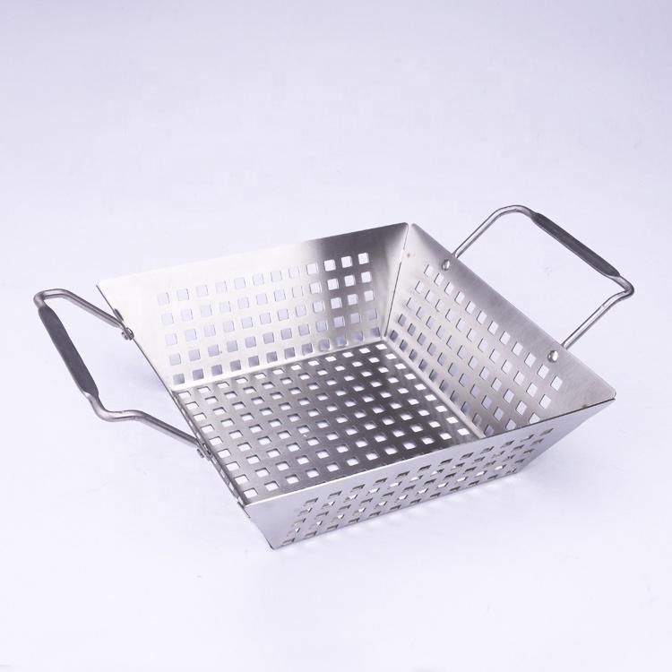 Approvisionnement direct d'usine de qualité alimentaire en acier inoxydable BARBECUE double gril carré maille panier casserole