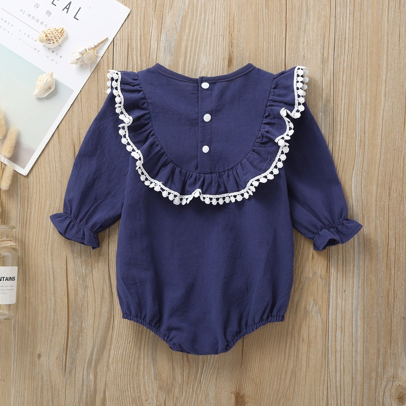 Hao Baby Europe And The United States Kids Clothing Ins  Long-Sleeved Triangle One-Piece Haha Girl Frill Crawling Dress