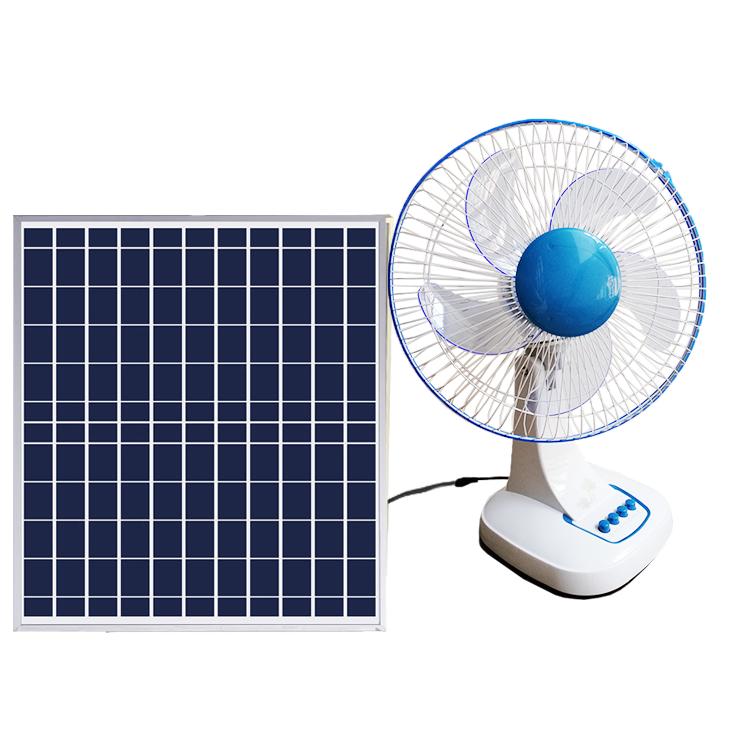 Popular solar 18v dc table fan with led light