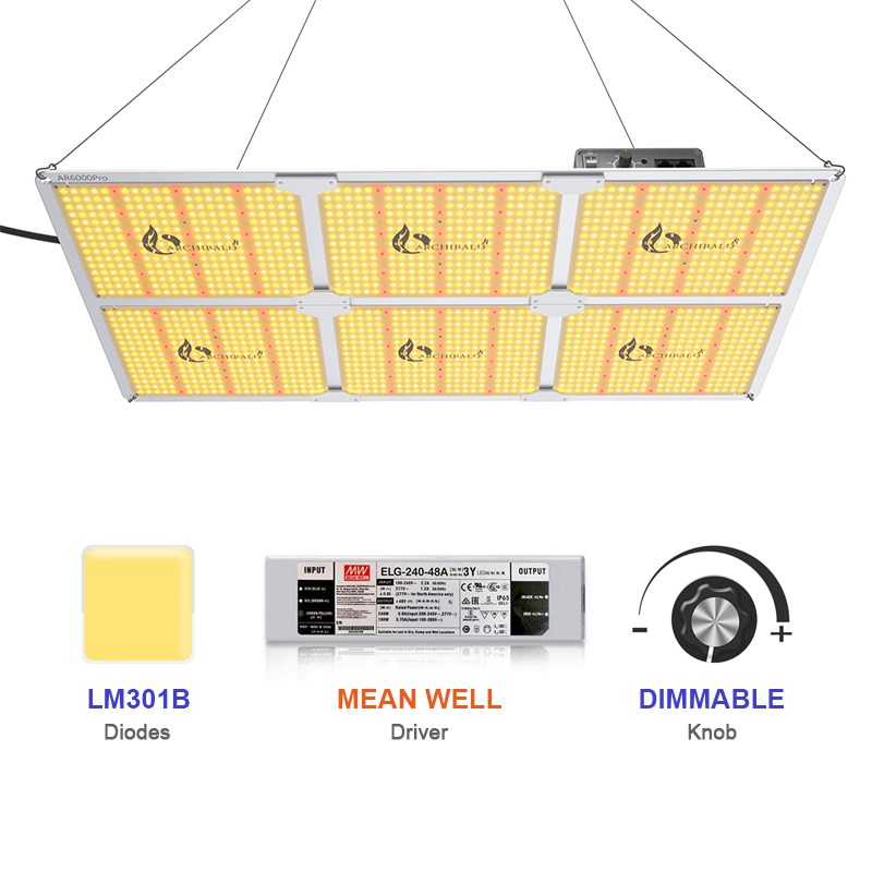 Samsung Chips & Dimmable Mean Well Driver lm301b  lm301h UV IR SF-6000 LED Grow Light for indoor plants
