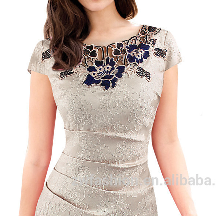 2020 Fashion wholesale China <strong>clothing</strong> new design Hot Sale short sleeve <strong>women</strong> work <strong>clothing</strong> rose <strong>lace</strong> office pencil dress