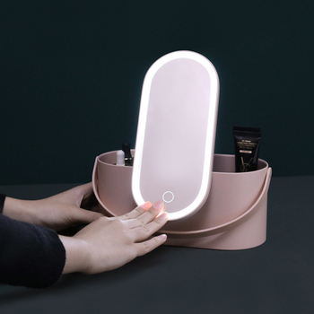 Makeup mirror box storage brush packaging boxes kit with makeup vanity box for professionals full set with LED mirror