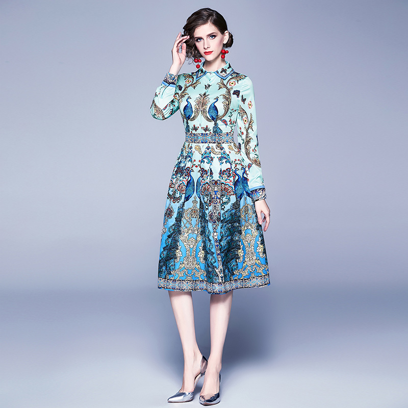 Women Blue Print A-Line Long Sleeves Design Dress Long Autumn Dress Office Women Fashion Style