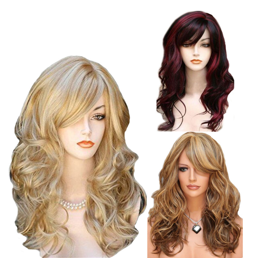 big wave long hair <strong>synthetic</strong> <strong>wig</strong> fashion lace <strong>wig</strong> for women girl ladies <strong>synthetic</strong> <strong>wigs</strong>