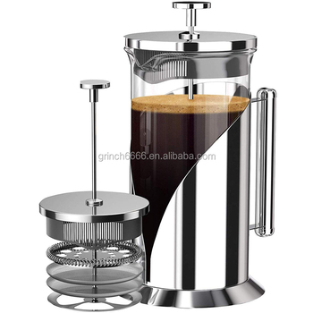 304 Grade Stainless Steel French Press Coffee Maker 34 Ounce with 4 Level Filtration System Glass French Coffee Press