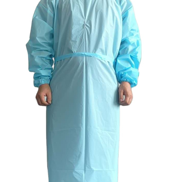 Disposable CPE apron gowns with iso9001 certificate AAMI ASTM F1670 LEVEL3 PASSED
