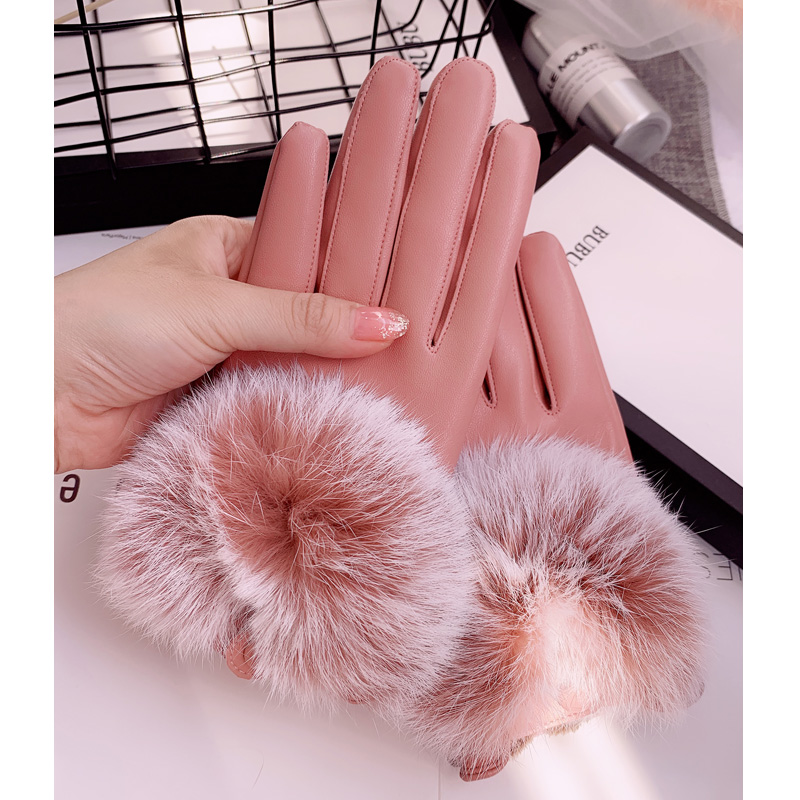 Wholesale of Motorcycle Gloves with Sheepskin and Rabbit Hair Fashion Fur Heating Touch Screen