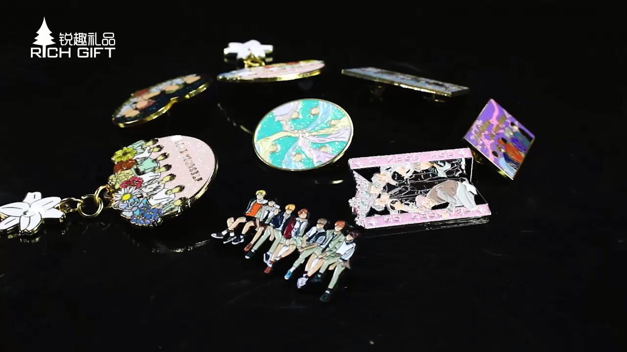 대량 한국어 우상 연예인 기념품 금속 귀여운 반짝이 로즈 골드 핀 배지 맞춤 exo bts kpop 하드 에나멜 옷깃 핀