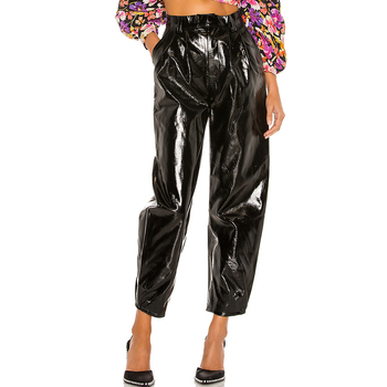 Fashion women Faux patent Leather pants hot selling ladies Solid Black trousers for causal wear