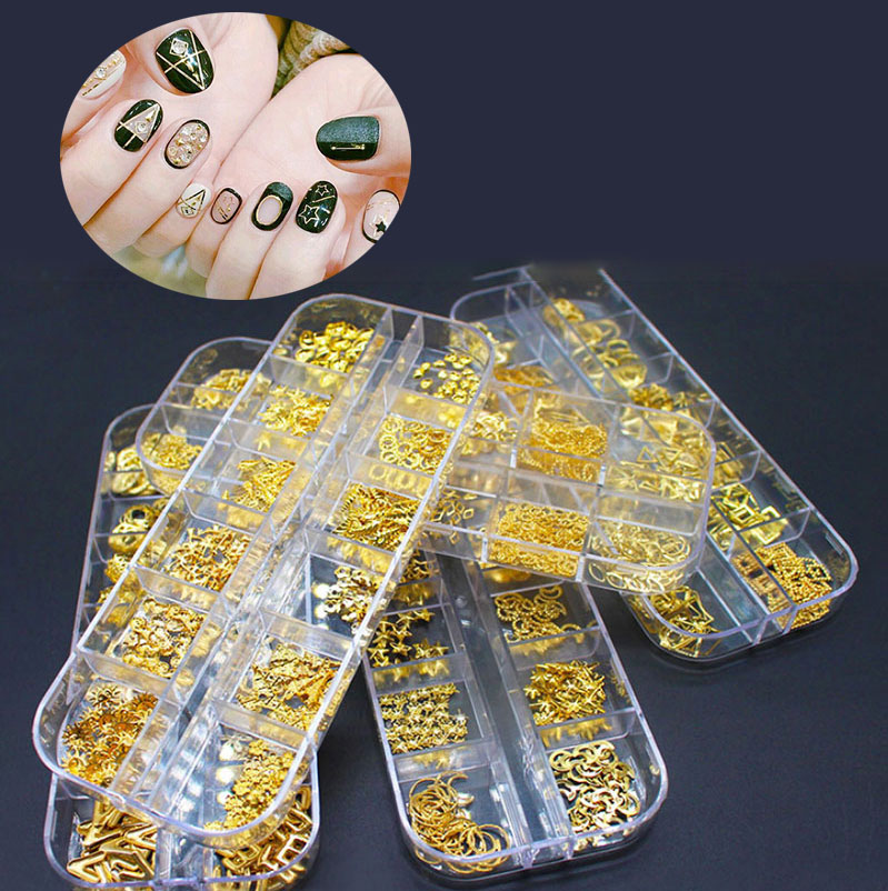 Box of 200/300 DIY <strong>nail</strong> <strong>stickers</strong> 12 grid large box mix and match a variety of styles Metal material jewelry <strong>Nail</strong> Patch