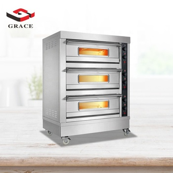 Grace Kitchen Multifunction Commercial Equipments Bakery Machines Gas Baking Oven Stainless Steel Baking Pizza Ovens