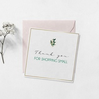 Personalized Greeting Card For Sellers Thank You Notes, Printable Thanks For Shopping Packaging Small Square Cards Postcard