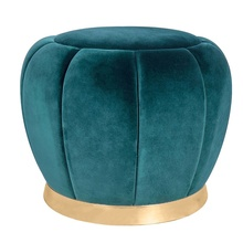 Home Furniture Living Room Teal Bedroom Footstool Modern Velvet Pouf Round Ottoman With Gold Base