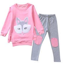 Осенняя одежда для детей, комплекты для маленьких девочек с мультяшным рисунком, спортивный костюм с длинными рукавами для девочек, одежда ...(Китай)