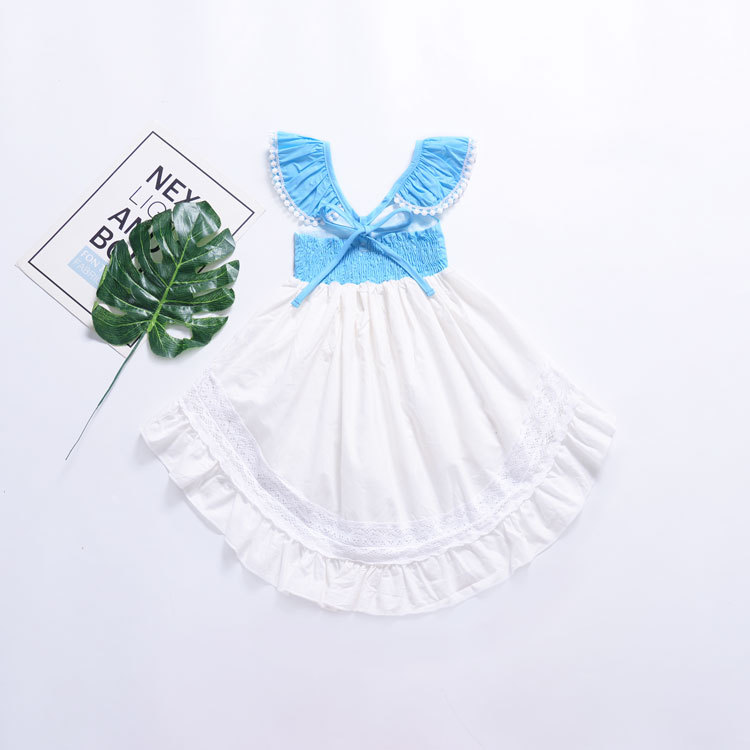 Hao Baby Summer Explosion Style Kids Clothing Little Flying Sleeve Backless Irregular Hollow Lace Girl Dress