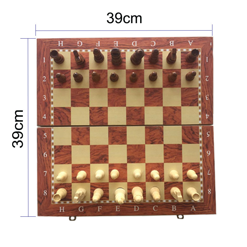 Professional Wooden International Chess High Quality Foldable Game Set Backgammon Checkers Beginner Chess Set for Kids and Adult