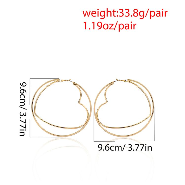 Women Exaggerated Two Layers Gold Plated Hollow Wild Hexagon Earrings Geometric Peach Heart Round Frame Earring