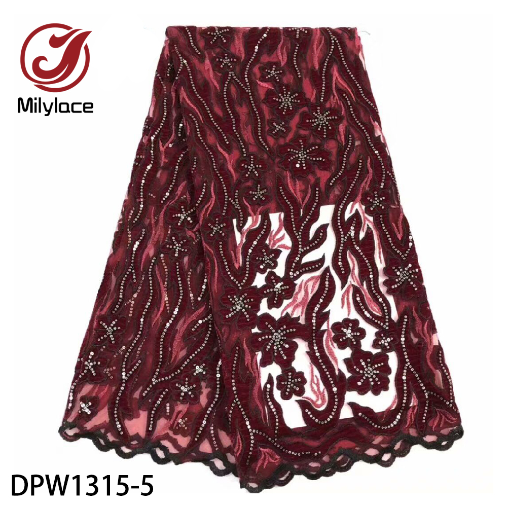Unique 3D Sequins Nigerian Wedding French Lace Fabric