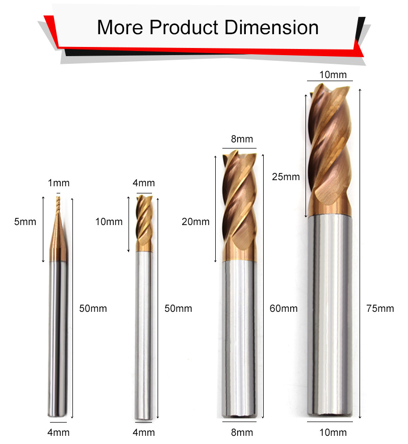 HRC55 Rắn Mill Cuối Carbide Với 4 Flutes Rắn Carbide End Mill
