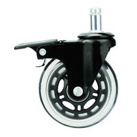 Transparent PU rollerblade office chair caster wheels 5 pieces