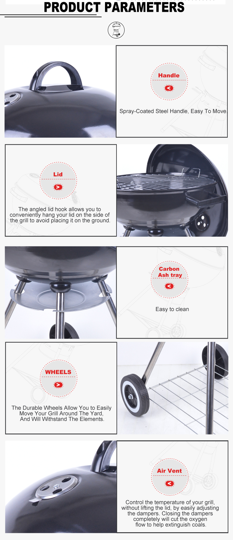Hot Selling Outdoor Camping Garden Black Two Wheels Charcoal grill Weber Kettle grill bbq
