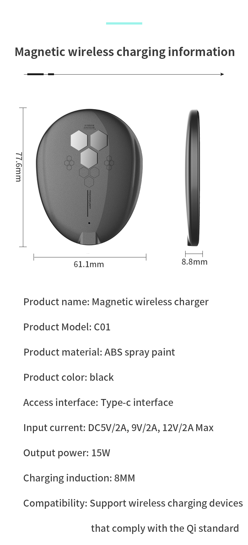 Amazon top seller 15w qi magnetic wireless charger portable wireless chargers for iPhone 12 for Huawei mate 40 pro