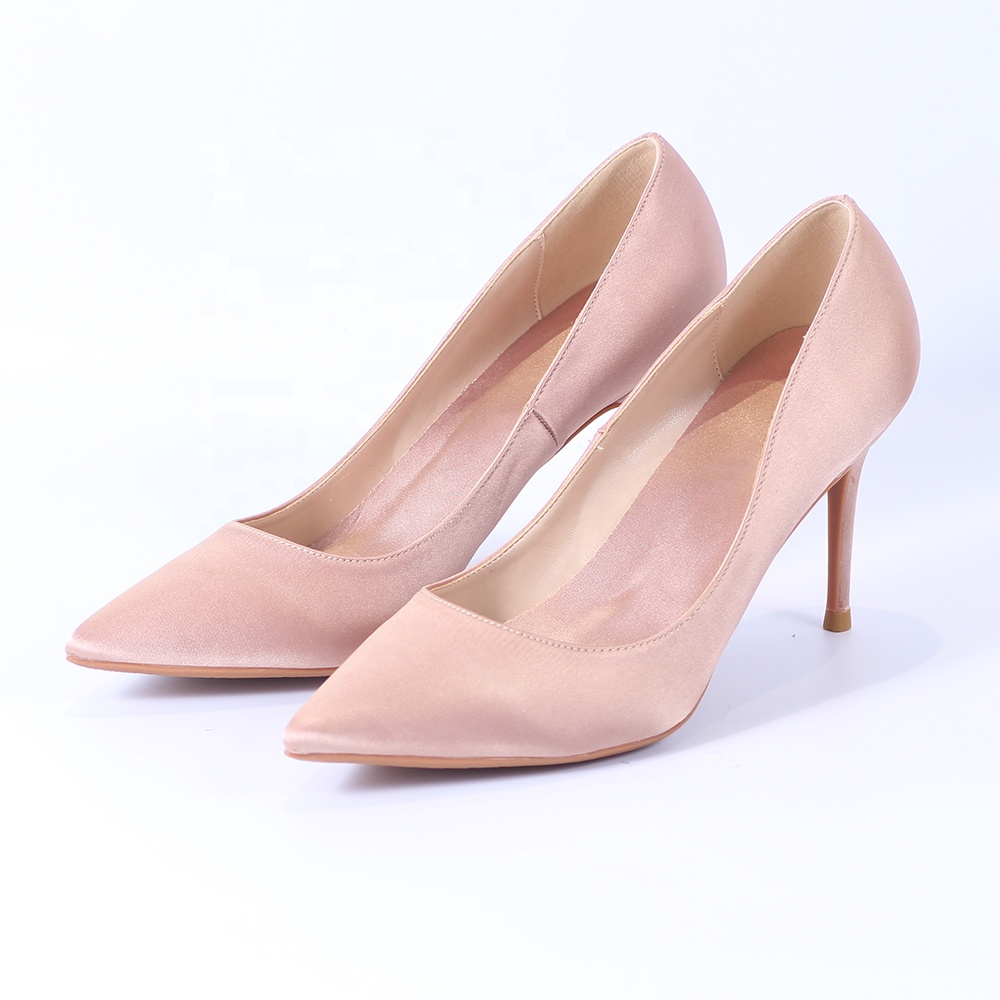 Hot Sales Simple Lady Dress Satin Shoes Female High Heel Wedding Shoes