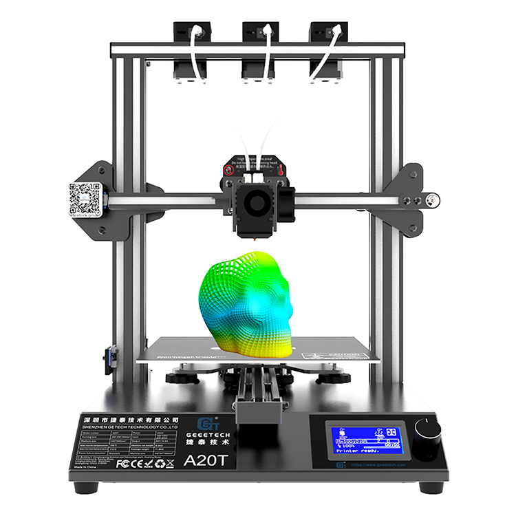 Geeetech A20T Mix-Color 3D Printer kit with 250*250*250mm Printing area Triple Extruder 3 in 1 <strong>Nozzle</strong> 3d printer kit