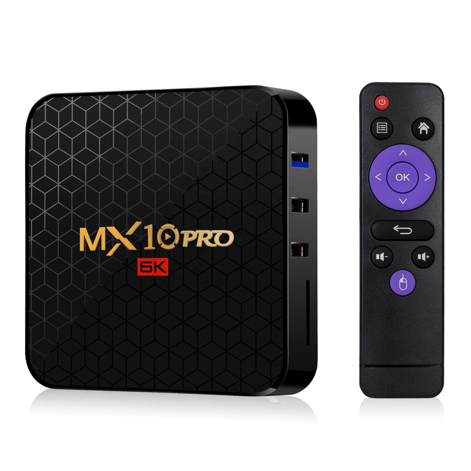 Boîtier décodeur externe TV android 9.0, HD 4K, lecteur, LOGO OEM, MX10 PRO, mini boîte TV