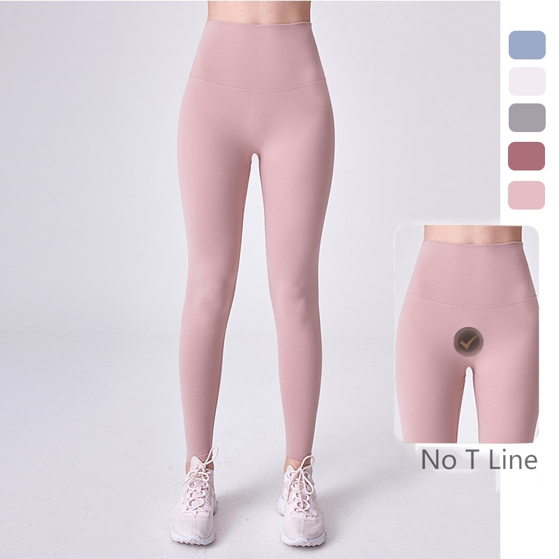 Good Quality High Waist Yoga Pants No Front T Line Nylon Spandex Fitness Yoga Leggings Women