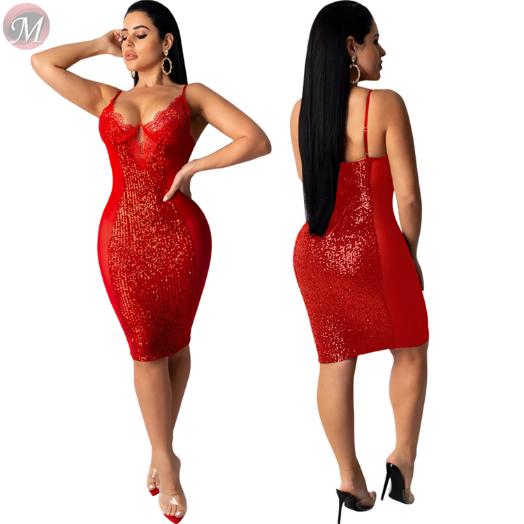 9120335 wholesale sexy suspender club party bodycon dresses sequin lace mesh splicing Sequin Midi Ladies Sexy Dress