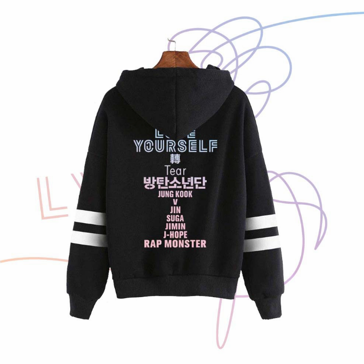 Kpop Oversize Girls Bts Products Clothes Album Love Yourself <strong>V</strong> Jungkook Jimin Blanket Hoodie With <strong>Zip</strong>