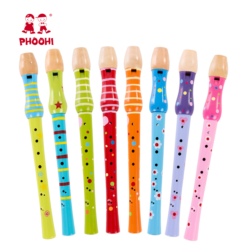 Hot Selling Play Classic Musical Instrument Toy Kids Wooden Flute For Children 3+