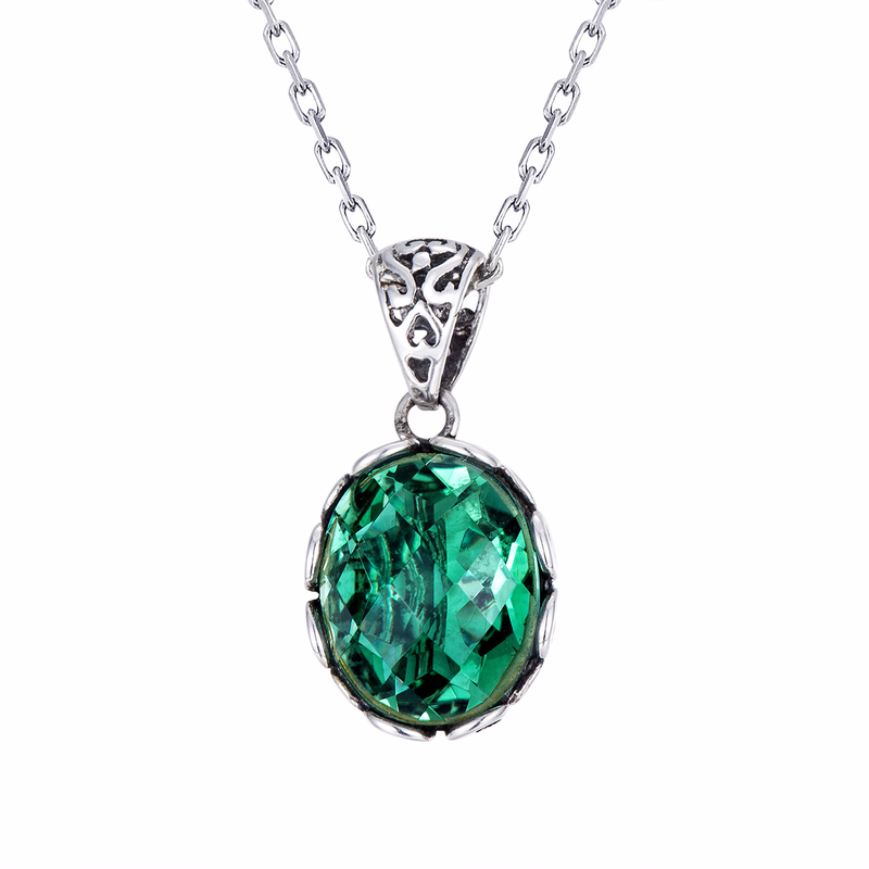 Real Pure 925 Sterling Silver <strong>Emerald</strong> <strong>Pendant</strong> For Women Faceted <strong>Natural</strong> Gemstone Antique Retro Green Crystal <strong>Pendant</strong> Pendule