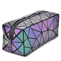 Fashion ladys bags Accept Customized Logo portable clutch bag geometric luminous travel ziplock cosmetic bag