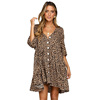 White Leopard Print V Neck Button Half Sleeves Plus Size Floral Dress