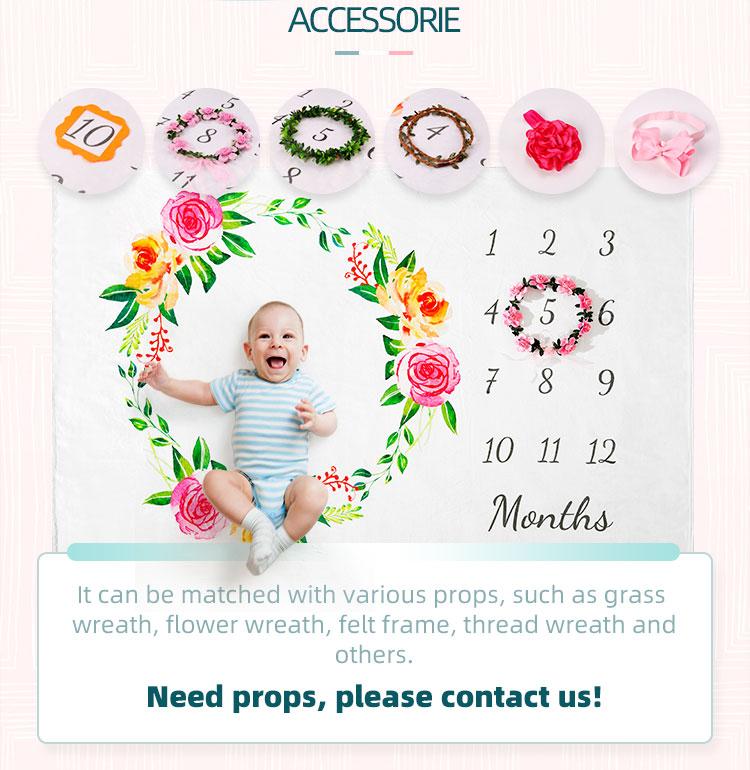 전문 저렴한 모슬린 신생아 사진 소품 마이크로 화이버 양털 아기 월간 이정표 담요