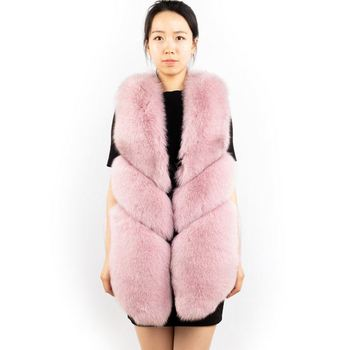DH IATOYW Cheap Price 70cm Pink Color Women Real Fox Fur Vest Winter Fashion Warm Fur Waistcoat